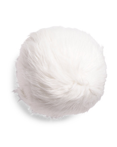 14in Round Solid Faux Fur  Pillow
