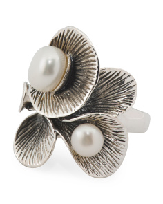 Made In Thailand Sterling Silver Pearl Leaf Ring