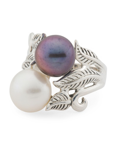Made In Thailand Sterling Silver Two Tone Pearl Ring