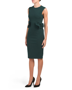 Crepe Midi Dress With Bow Detail