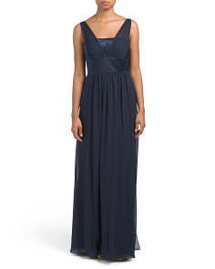 Long Lux Chiffon Overlay Gown