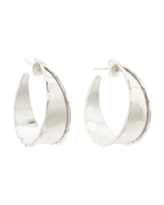 Made In Mexico Sterling Silver Hammered Edge Hoops