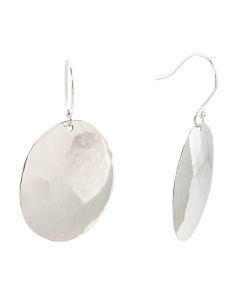 Made In Mexico Sterling Silver Hammered Large Disc Earrings