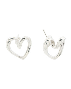 Made In Mexico Sterling Silver Open Loop Top Heart Earrings