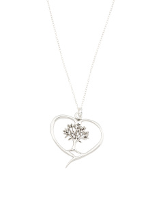 Made In Mexico Sterling Silver Tree Of Life Heart Necklace