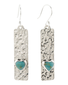 Made In Mexico Sterling Silver Turquoise Heart Earrings
