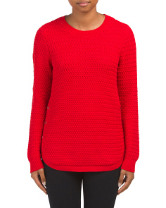 Textured Round Hem Sweater