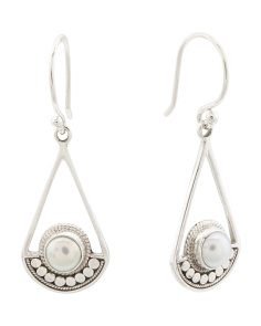Made In Bali Sterling Silver Pearl Shield Earrings