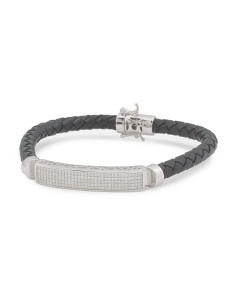 Men's Sterling Silver And Leather Bracelet