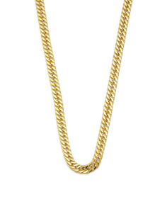 Men's 14k Gold Plated Sterling Silver Double Curb Chain Necklace