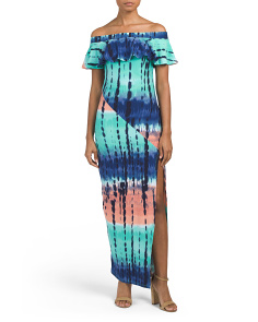 Juniors Printed Dress With High Slit