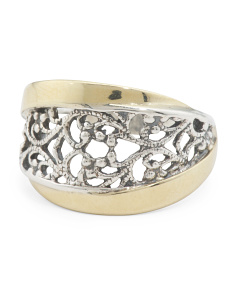 Made In Israel 14k Gold And Sterling Silver Lace Ring