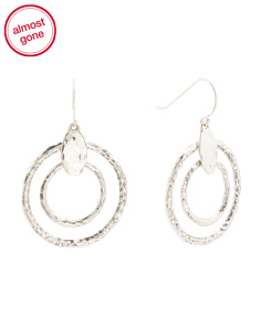 Made In Israel Sterling Silver Double Circle Earrings