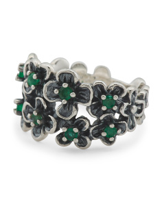 Made In Israel Sterling Silver Emerald Flower Ring