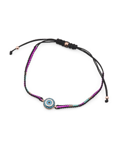 Handmade In Turkey Sterling Silver Cz Evil Eye Bolo Bracelet