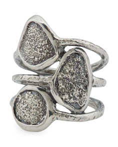 Made In Israel Sterling Silver Textured Multi Row Ring