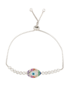 Made In Turkey Sterling Silver Rainbow Cz Evil Eye Bracelet
