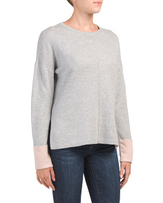 Hi Lo Hem Side Slit Seam Detail Sweater