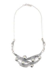 Made In Israel Sterling Silver Peridot Collar Necklace
