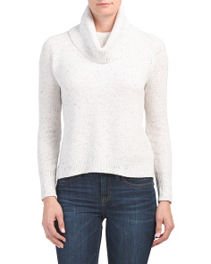 Textured Cowl Neck Hi-lo Sweater