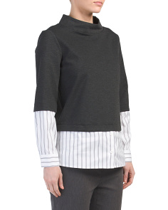 Mock Neck Mix Media Sweater