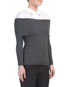 Mix Media Ribbed Sweater