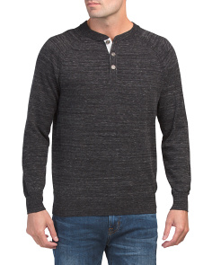 Space Dye Henley Sweater