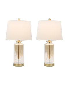 Set Of 2 24in Glass Table Lamps
