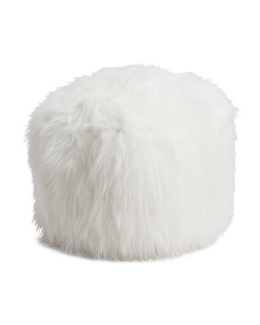20in Angora Faux Fur Pouf