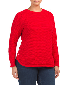 Plus Textured Round Hem Sweater