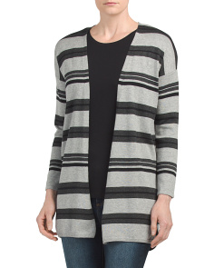 Petite Color Block Striped Duster