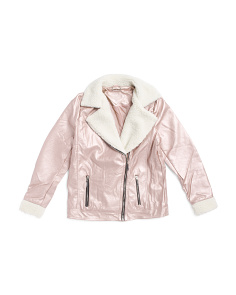Girls Metallic Faux Leather Jacket