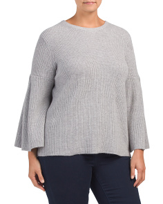 Plus Ribbed Bell Sleeve Sweater
