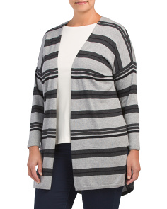 Plus Color Block Striped Duster Cardigan