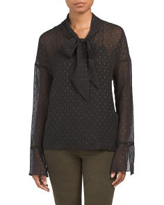Metallic Silk Scarf Shirt