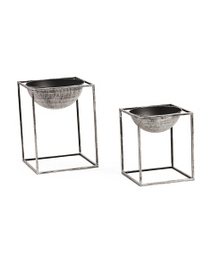 Set Of 2 Galvanized Footed Planters