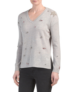 Cashmere Blend Jeweled V-neck Sweater With Stars