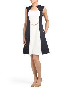 Color Block Crepe Dress With Chain Belt