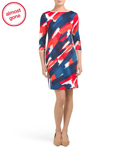 Printed Scuba Sheath Dress