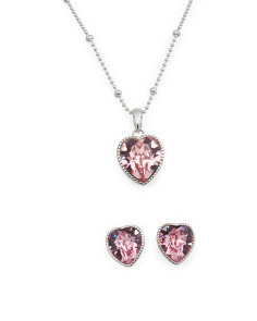 Girls Sterling Silver Swarovski Crystal Heart Set