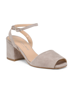 Made In Italy Peep Toe Suede Sandals