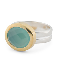 Handmade In India Sterling Silver Chalcedony Perfecta Ring