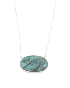 Handmade In India Sterling Silver Oval Labradorite Necklace
