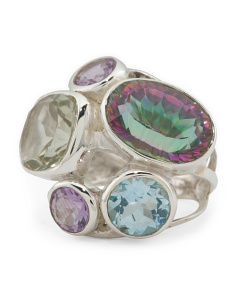 Made In India Sterling Silver Multi Gemstone Ring