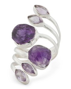 Made In India Sterling Silver Amethyst Wrap Ring