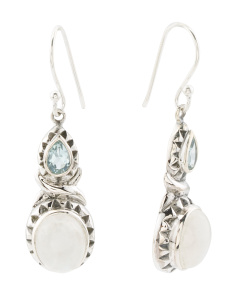 Made In India Sterling Silver Blue Topaz Moonstone Earrings