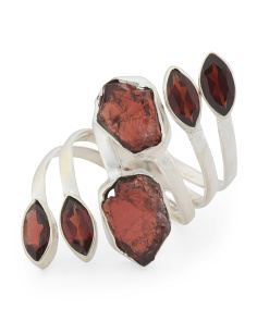 Made In India Sterling Silver Garnet Wrap Ring