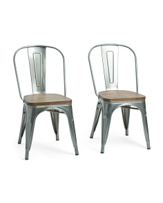 Set Of 2 Wood And Metal Chairs