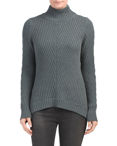 Chevron Stitch Mock Neck Sweater