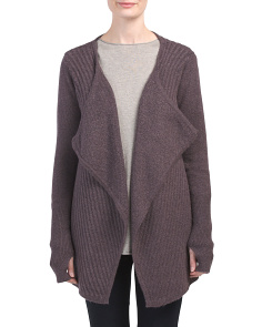 Chevron Stitch Drape Neck Cardigan